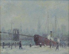 Berthelsen, Johann. Oil On Board. New York Harbor