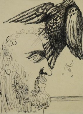 Browne, Byron. Ink On Paper. Head Of A Man With A