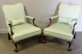 Pair Of Georgian Style Mahogany Upholstered