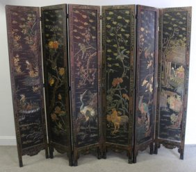 Antique 6 Panel Coromandel Chinese Screen.