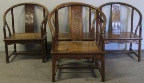 4 Antique Chinese Hardwood Horseshoe Chairs.