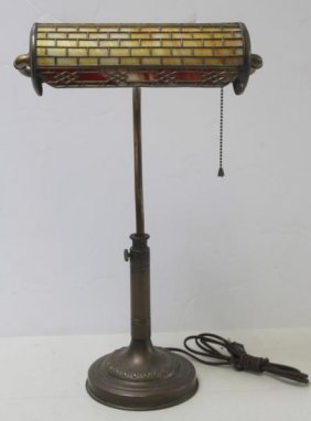 Handel Signed Desk Lamp With Slag Glass