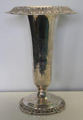 Sterling. Large Dominick & Haff Trumpet Vase.