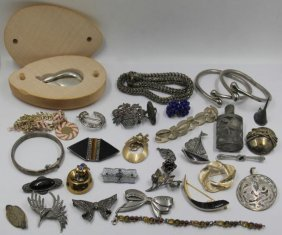 Jewelry. Silver And Costume Jewelry Grouping.