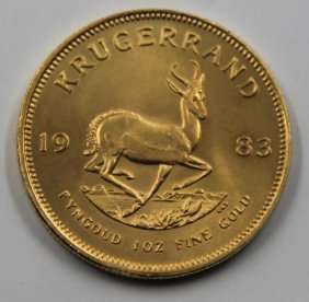 Gold. 1983 South African Krugerrand Gold Coin.