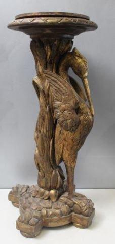 Carved Giltwood Swan Form Pedestal.