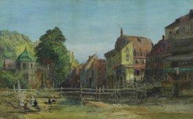 Faulkner, John. Watercolor Village Scene.