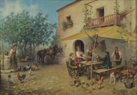 Stefanelli, L. Oil On Canvas. Farmyard Scene.