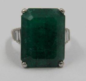 Jewelry. Platinum 14 Ct Emerald And Diamond Ring.