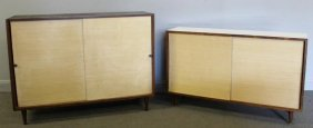 Set Of 2 Paul Mccobb Style Slide Front Cabinets.
