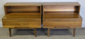 Midcentury Pair Of Nakashima Style End Tables.