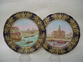 Pair Of 18th C. Sevres Hand Painted Plates