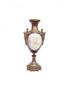 Large 19th Century Hand Painted Sevres Urn Signed