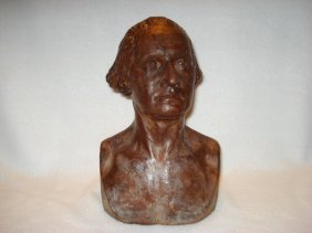 Redware Portrait Bust Of George Washington After Jean
