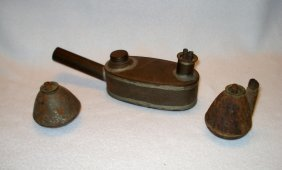 Three Early Whale Oil Or Fat Burning Lamps In Tin All