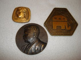 Two Bronze Medallions Including A Theodore
