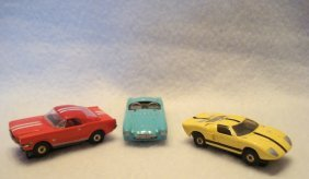 Aurora T-jet Lot Including A Red Ford Mustang 2+2