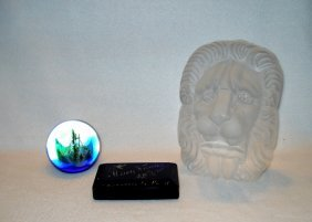 Three Glass Paperweights Including: 1) A Caithness Of