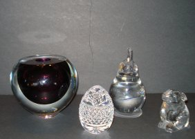 Group Of Four Glass Collectibles Including: 1) Baccarat