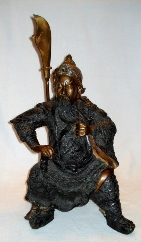 Seated Samurai Warrior Statue, Contemporary, Finely