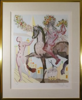 "Salvador Dali ""the Flowered Horseman"" Signed Litho"