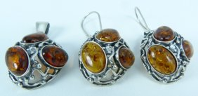 Baltic Amber Sterling Earring And Pendent Suite