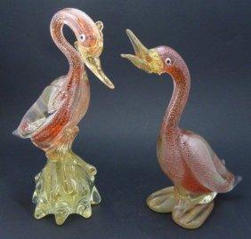 Two Vintage Murano Art Glass Bird Sculptures