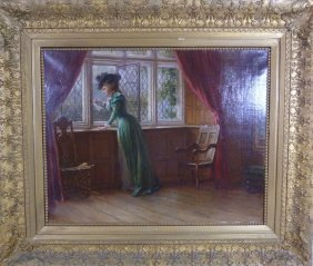 Samuel Sidley 19th C Oil Painting On Canvas