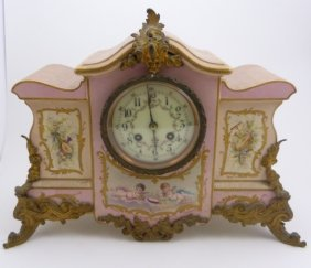 French Hand Painted Porcelain Mantel Clock