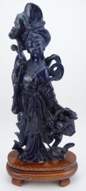 Chinese Lapis Carving Of Quan Yin Sculpture
