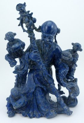 Chinese Lapis Carving Of Shou W Children