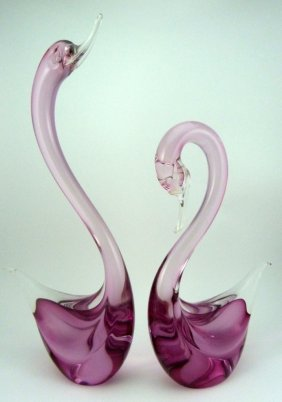 Pair Murano Pink Art Glass Swan Sculptures