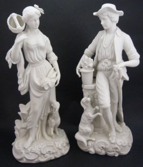Pair Parian Continental Bisque Porcelain Figures