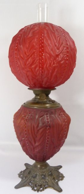 Red Satin Parlor Kerosene Hurricane Lamp