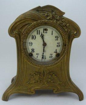 Art Nouveau Gilt Gilbert Clock Co Mantel Clock