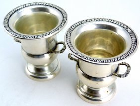 Pair Hunt Silver Co Sterling Toothpick Holders
