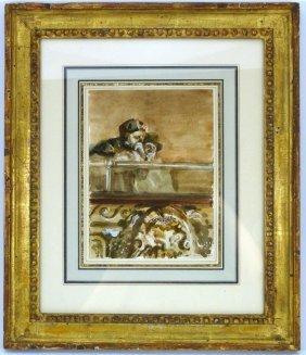 """David Levine Watercolor """"opera Box"""""""