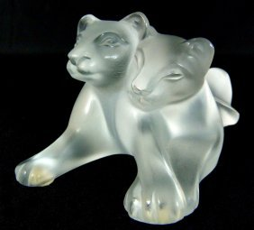 Lalique France Crystal Signed Pair Of Lions