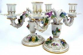 Pair Dresden German Porcelain Floral Candelabras