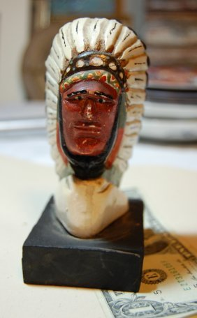 Carved American Folk Art Indian Chief