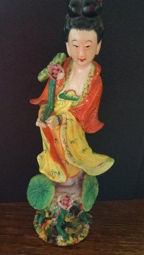 Colorful Porcelain Female Figurine