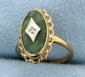 Vintage Jade & Diamond Ring