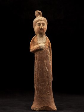 Tang Dynasty Pottery Model Figure Of Lady