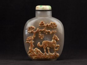 Chinese Antique Carved Agate Snuff Bottle