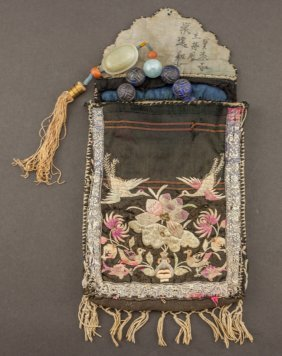 Chinese Antique Lapis Prayer Beads (with Bag)
