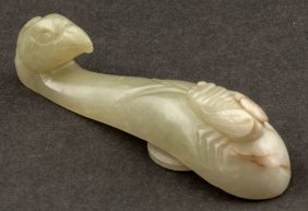 Chinese Antique 19th Jade Garment Hook