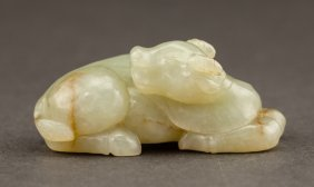Chinese Antique 19th Carved Jade Figures