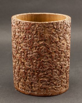 Chinese Antique 19th Carved Bamboo Brushpot