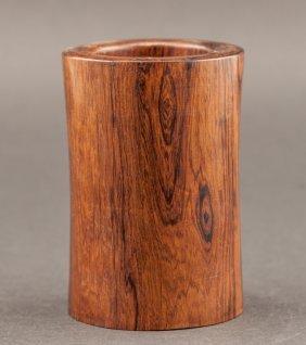 Antique Carved Huanghuali Wood Brush Pot