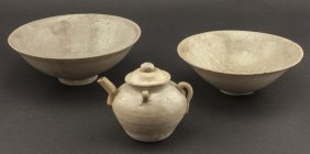 Set Of Song Dynasty Stoneware Bowls & Teapots